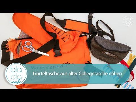 Gürteltasche aus alter Collegetasche nähen – DIY Upcycling