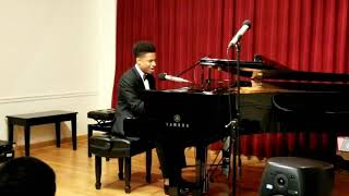 """16yr old Caleb Carroll sings  """"America the Beautiful"""" (Ray Charles Rendition) My 1st Piano Recital"""