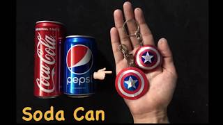 Captain America Shield Key chain Using Soda Can