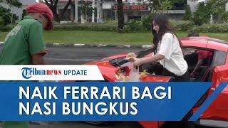 Viral Video Wanita Cantik Crazy Rich Surabaya Naik Ferrari Bagi Nasi Bungkus, dan Borong Dagangan