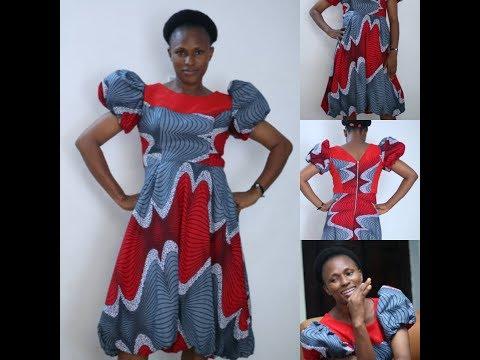 Ball Dress/Circular Dress With Baloon Sleeve/Bogus Sleeve/Doughnut Sleeve