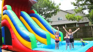 GIANT INFLATABLE WATER SLIDE BOUNCE HOUSE FOR KIDS Playing outside!