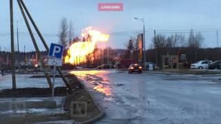В Гатчине после прорыва газопровода вспыхнуло пламя