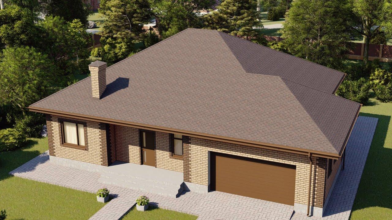 Проект квадратного дома 170 м2 с большим гаражом