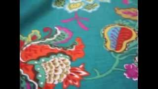 Teal Jacobean Floral Pattern Lebeau