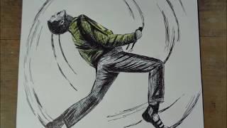 Dibujando a Freddie Mercury de Queen con boligrafo negro - Drawing Freddie Mercury from Queen - #23