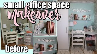 SMALL OFFICE MAKEOVER / SMALL DESK SPACE / GIRLY OFFICE SPACE