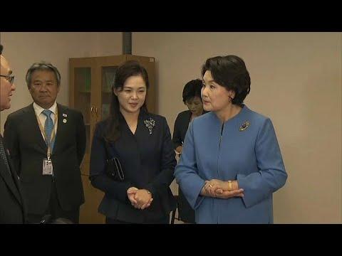 العرب اليوم - بالفيديو: سيدة كوريا الجنوبية الأولى في ضيافة زوجة كيم يونغ أون