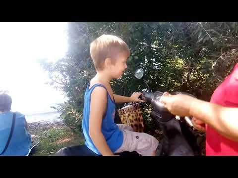 Дети изучают мопед