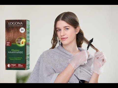 LOGONA Pflanzenhaarfarbe Anwendung - Haare natürlich färben. Anleitung - braun, rot, braun, schwarz