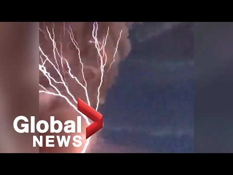 Rare volcanic lightning caught on camera forking across sky from Philippines volcano
