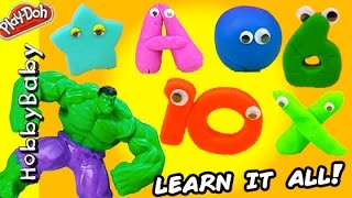 Hulk Smashes Numbers Letters Colors and Shapes! Play-Doh Hero Learning HobbyBabyTV