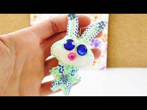 Süßer Schlüsselanhänger aus Stoff | selber gestalten mit Perlen Maker & Glitzer Steinchen | DIY