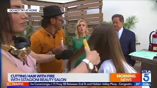 CUTTING HAIR WITH FIRE at 5KTLA