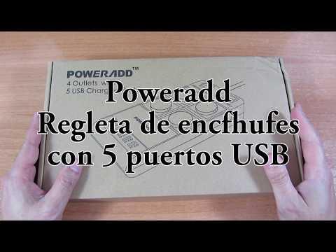 Regleta de enchufes con puertos usb de Poweradd