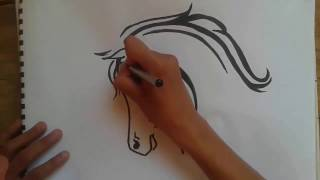How To Draw Horse Tattoo......طريقة رسم فرس وشم