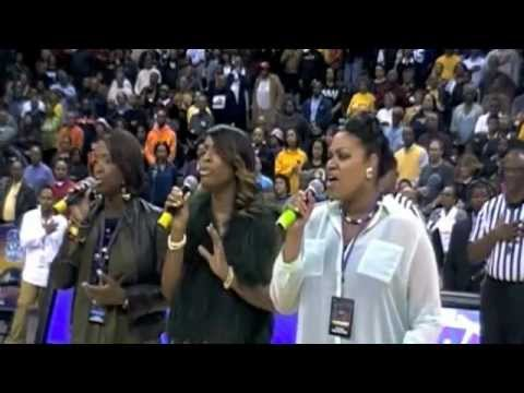 Me and my sisters singing the national anthem for MEAC Basketball Tournament (Arranged by me)