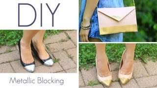 How to Make Metallic Blocking Metal Cap Toe Shoe Look {DIY}