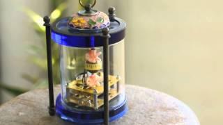 真鍮製ガラス×七宝金魚からくり時計スケルトン機械式完動品