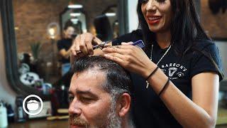 Relaxing Hard Part Taper Haircut  | Barbons Barbershop