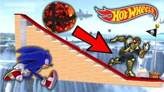 Super Smash Bros. Ultimate - Who Can OUTRUN The FLAMING SMASH BALL On The Hot Wheels Track?
