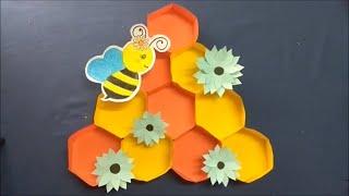 DIY Paper Craft // DIY super easy Kids Craft // Hexagon craft // Honey comb design makking by paper