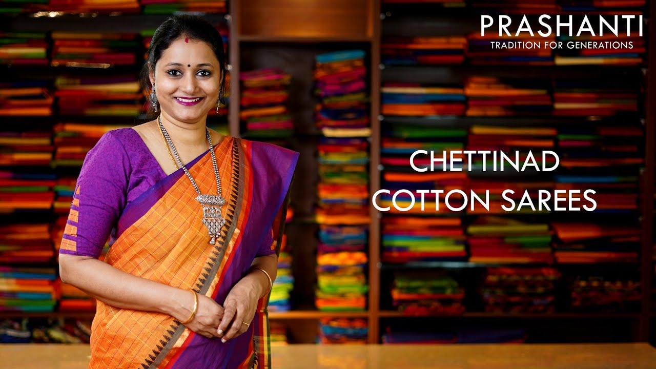 "<p style=""color: red"">Video : </p> lightup Chettinad Cotton Sarees | 16 Oct 2020 | Prashanti 2020-10-16"