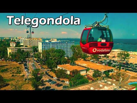 Mamaia seen from the gondola lift (telegondola), filmed in 4K