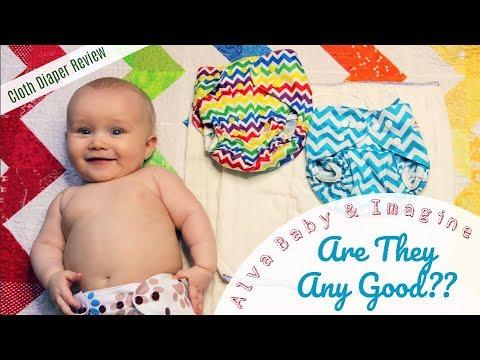 CLOTH DIAPER REVIEW:  Alva Baby Diaper Cover & Imagine Prefolds