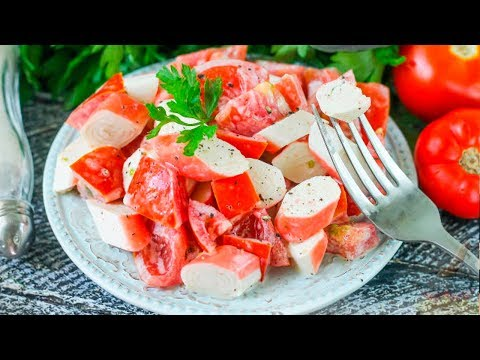 Диетический Салат с крабовыми палочками, помидорами и чесноком