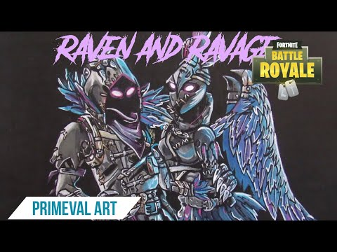 painting raven and ravage painting hyper speed - fortnite ravage fanart