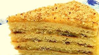 Смотреть онлайн Торт из жареных коржей с заварным кремом
