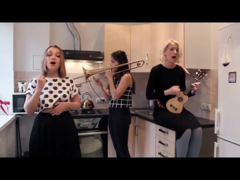 A Russian girl group (Young Adults) doing an acoustic cover of Can't Stop with a ukulele, trombone and cymbals.