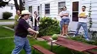 Watermelon cut with Katana