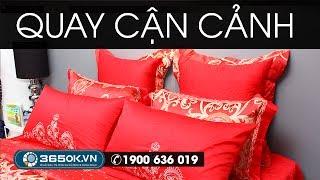 Ga giường cưới đẹp màu đỏ thẫm sang trọng KS2R024 được làm
