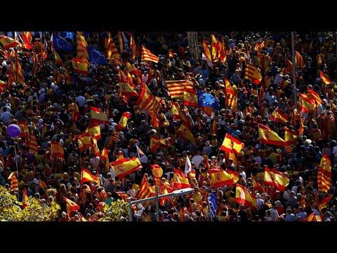 Demonstrators gather to protest against Spanish PM Sanchez visit to Barcelona