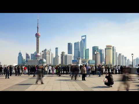 Shanghai skyline with pedestrian timelapse. Шанхай. Люди. Город. Таймлапс.