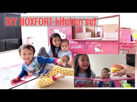 KEREN Kitchen Set dari Kardus Bekas Zara Cute | Box Fort Cafe Hello Kitty | DIY CARDBOARD