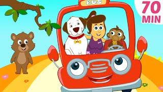 Wheels On The Bus and More Nursery Rhymes Compilation by HooplaKidz | 70 Mins
