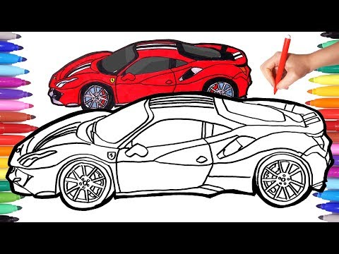 How To Draw Cars | Drawing And Coloring Cars | How To Draw A Ferrari | Ferrari 488
