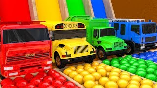 Learn Colors with Street Vehicle and PACMAN Magic Water Slide Color Shape Farm Pretend Play for Kids