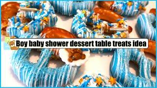 EASY BOY BABY SHOWER CHOCOLATE COVERED JUMBO PRETZEL TREATS || EASY DESSERT TABLE TREATS IDEAS