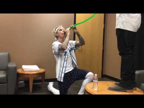 Justin Bieber First Beer Bong   This is for Post Malone   backstage at Purpose Tour 2017