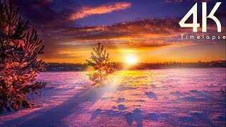 Beauty Of Winter In Countryside 4K UHD Timelapse Photography Video