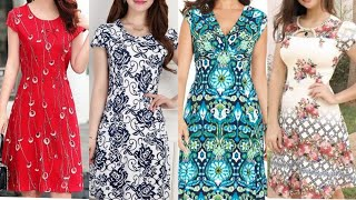 Glamorous And Attractive American Style Floral Print Sheath A Line Dress Street Style Casual Dress