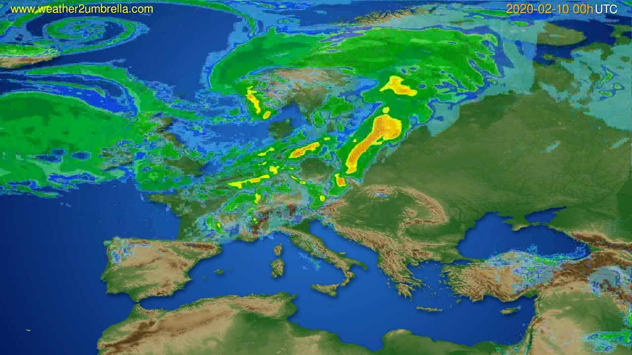 Radar forecast Europe // modelrun: 12h UTC 2020-02-09