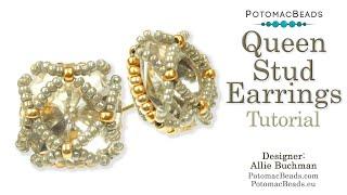 Queen Stud Earrings- DIY Jewelry Making Tutorial By PotomacBeads