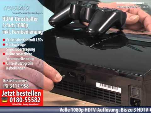 auvisio HDMI-Umschalter (Switch) 3-fach 1080p inklusive Fernbedienung