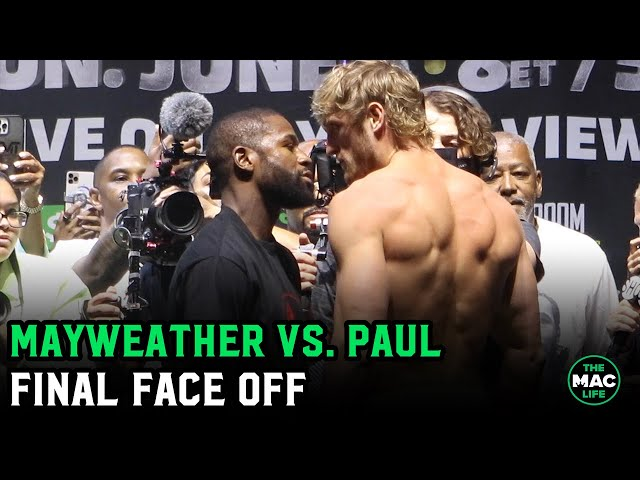 Watch: Floyd Mayweather and Logan Paul have their final face-off ahead of lucrative boxing match