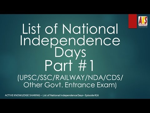 List of National Independence Days